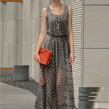 Sleeveless Polka Dot Cropped Chiffon Maxi Dress