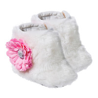 White & Pink Rosette Faux Fur Booties