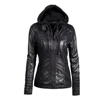 Hooded Faux Leather Jacket with Detachable Lining (US Only)