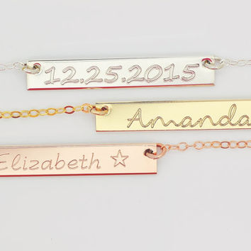 Personalized Bar Necklace, Name Necklace Bar, Monogram Bar Necklace, Custom Name Necklace, Initial Bar Necklace, Engraved Bar,  5x35