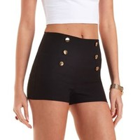 High-Waisted Sailor Shorts by Charlotte Russe - Black