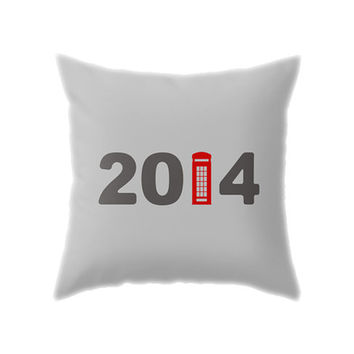 London 2014 Pillow Cover, Gray & Red New Year British Phone Booth Throw Pillowcase for Living Room and Holiday Home Decor
