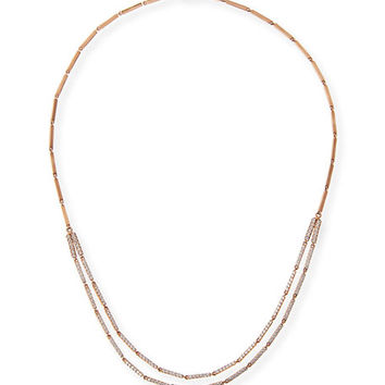Lana Layered Double Bar Diamond Necklace in 14K Rose Gold
