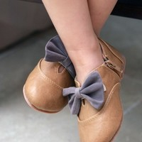 Bow Cutout Shootie Flats ~ Light Brown
