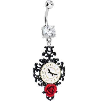 Clear Gem Baroque Clock with Red Rose Dangle Belly Ring