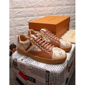Louis Vuitton LV Newest Popular Men Comfortable Flat Sport Shoe Sneakers Brown I-OMDP-GD