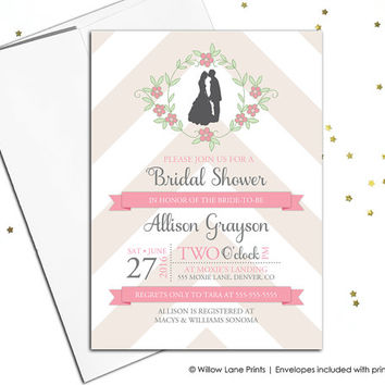 Rustic Wedding Shower Invitation Printable Bridal Shower Invites printed, Summer Wedding, Chevron, Pink and Champagne, Silhouette - WLP00668