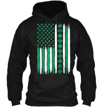 St. Patrick's Day Irish American Flag Tee Clover and Stripes Pullover Hoodie 8 oz