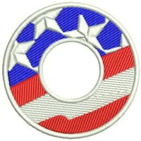 O Alphabet Letters of US Flag Iron on Small Badge Patch for Biker Vest