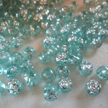 New Rare Teal Round Shape Silver Floral Flower Pattern Acrylic Bead 50g Per Pack 5mm Round Hard To Find Pattern For Necklace Bracelet