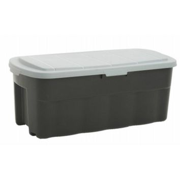 Shelves 206103 Gray & Black Plastic Tote Tough Box with Flat Lid, 50 Gallon