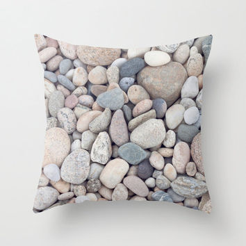 Beach Stones Throw Pillow or Decorative Pillow Cover Beach Decor Cottage Living Room Beige Tan Blue White Gray Taupe Neutral Ocean Bedroom