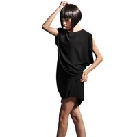 Bqueen Chiffon bat sleeve dress Black SK023H - Designer Shoes|Bqueenshoes.com