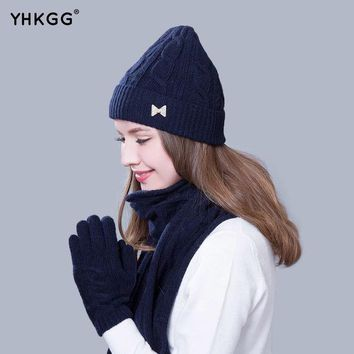 DCCKWQA 2016 Women Scarf And Hat Gloves Set Knitted Girls Thicken Knitting  Winter Warm