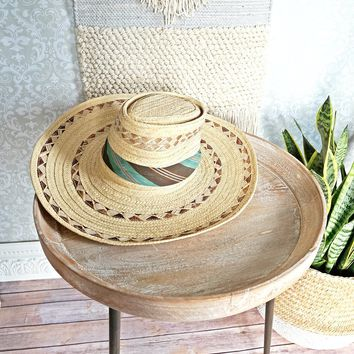 Vintage 1970s High Top + Straw Sun Hat