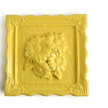 Yellow Flower Plaque, Flower Chalkware Wall Hanging, Floral Wall Hanging, Yellow Home Decor