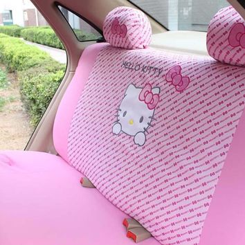 MeimeiBear Cute Pink Hello Kitty Car Rear Back Seat Cover Polyester Polka Dot Universal Seat Protective interior Accessories