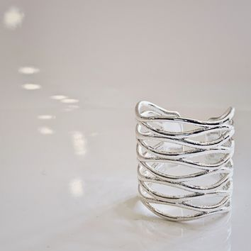 Infinite Sterling Silver Woven Statement Ring