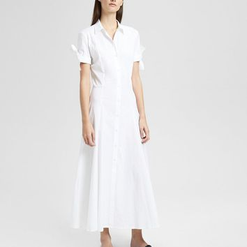 Stretch Cotton Tie-Sleeve Shirt Dress