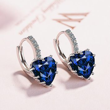 925 Sterling Silver Colorful Crystal Heart Stud Earrings For Women Girl Fashion Jewelry Gift Pendientes Orecchini brincos EH699