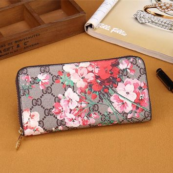 """Gucci"" Women Purse Fashion Double GG Flower Print Zip Long Section Wallet Handbag"