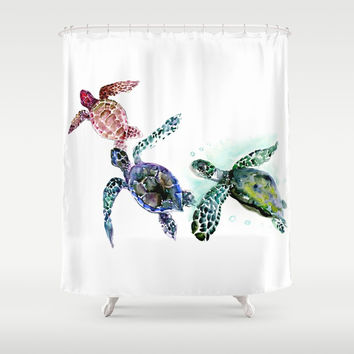 Sea Turtle Family, family art Shower Curtain by sureart
