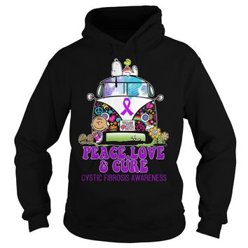 Snoopy Charlie Brown peace love and cure cystic fibrosis awareness shirt Hoodie