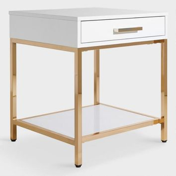 White and Gold Reid Accent Table with Drawer