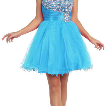 Studded Bodice Ruched Waist Turquoise Short Homecoming Dress