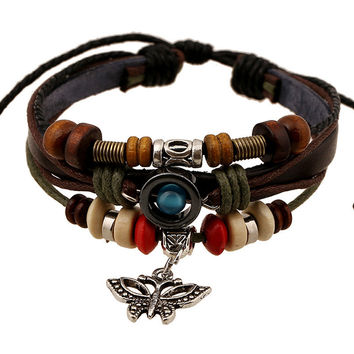 Butterfly Handmade Woven Leather Bracelet