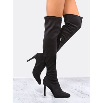 Pointy Toe Suede Stiletto Boots BLACK