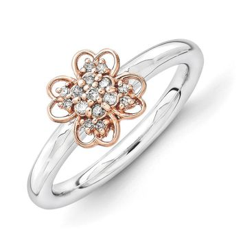 Sterling Silver, 14k Rose Gold Plated & Diamond 8mm Flower Stack Ring