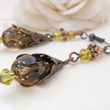 Belle - copper fairytale earrings with golden yellow crystal beads and filigree cones