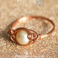 Pearl Ring, *FREE SHIPPING*, wire wrapped ring, wire wrapped jewelry handmade, unique rings,size US 7