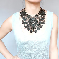 large black floral lace bib oversized necklace - Lace Embroidery venise lace jewelry accessory