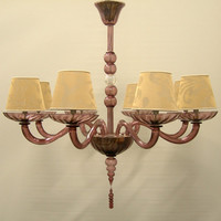 Authentic Italian Murano Amethyst Hand Blown Glass Chandelier with Rubelli Fabric Lamp Shades - Made in Venice