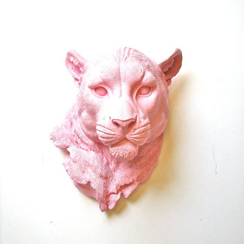 Faux Taxidermy Panther Head wall decor wall hanging wall mount: Pimmy the Panther in soft pink