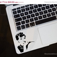 Back to School 20% SALE Audrey  Hepburn Frontal MackBook Decal sticker 11'' 13'' 15'' 17'' Ipad