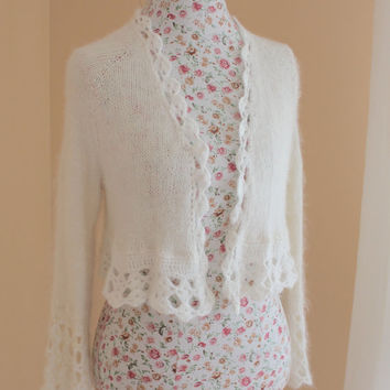 100% Angora Rabbit Handmade Knit Crochet Bridal Angora Shrug/Bolero v-neck No buttons 3/4 Bell Sleeve - Size S-M