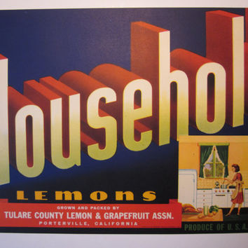 Vintage Unused Large Crate Label 1950s Advertising for Household Brand Lemons Vivid Colors Excellent for Framing