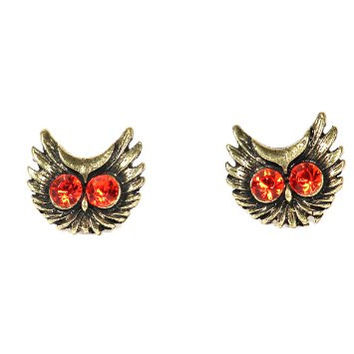 Flying Owl Head Stud Earrings Crystal EA24 Vintage Gold Tone Bird Crystal Pave Posts Fashion Jewelry