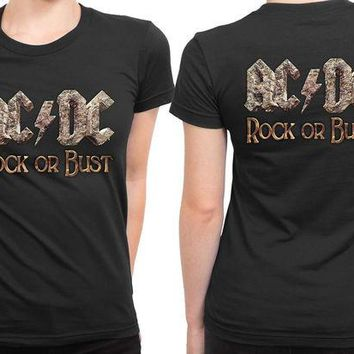 VONEED6 ACDC Rock Or Bust Front Title 2 Sided Womens T Shirt