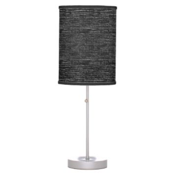 Charcoal Black White Woven Thread Effect Desk Lamp