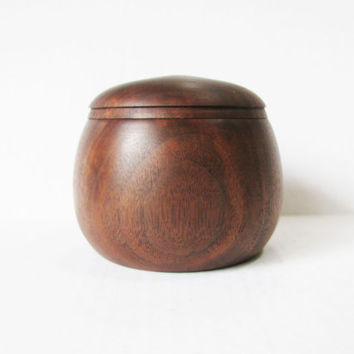 Wood Trinket Box   Hand Turned Walnut   Lidded Box  Wooden Jar  Home Decor  Christmas Gift  Gifts under 50  Dark Wood  Eco Friendly