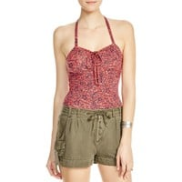 Free People Womens Printed Ruched Halter Top