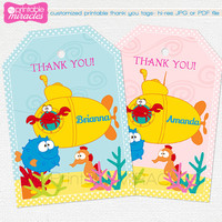 Under the sea party favor tags, thank you label, Personalized printable tags, Sea animals thank you card