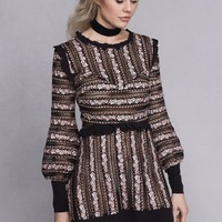 PERCEPHONE EMBROIDERED L/S DRESS