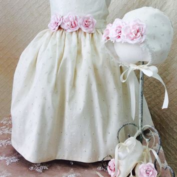 Annie-christening dress-flower girl infant-Silk Baby Dress