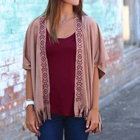Tribal Embroidery Suede Kimono {Camel}