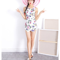 White Floral Printed Sleeveless Romper